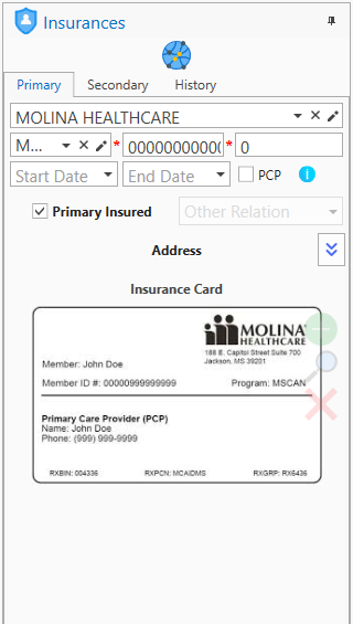 Patient Details Module - Insurance Screen
