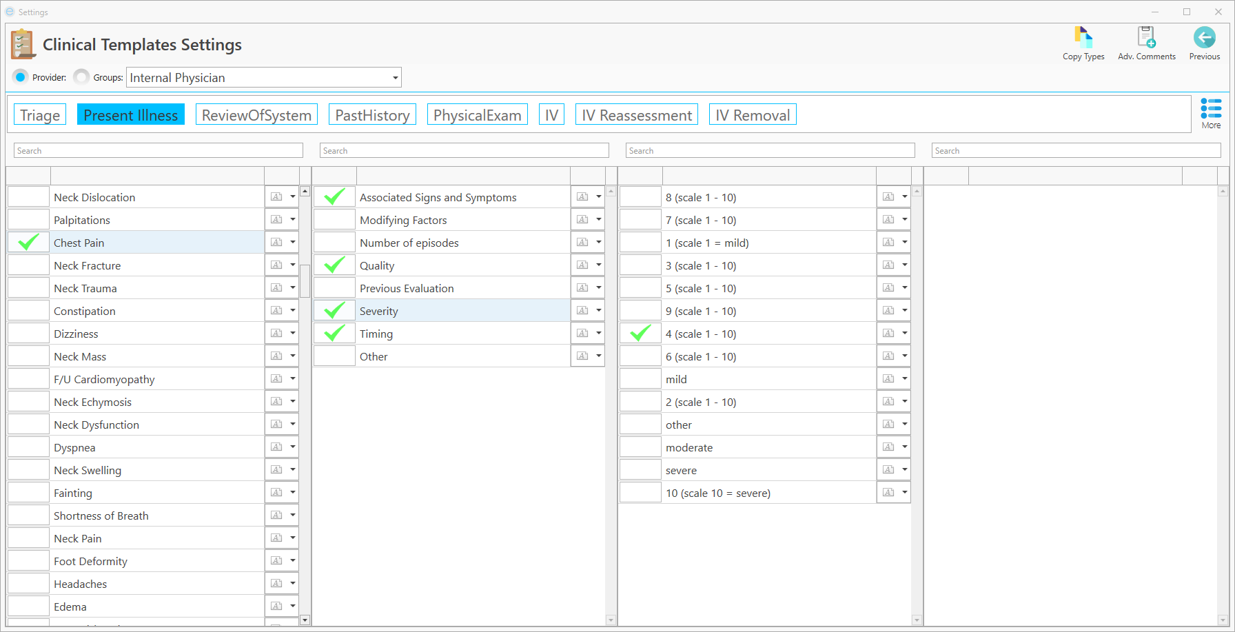 Settings Module - Clinical Templates Screen